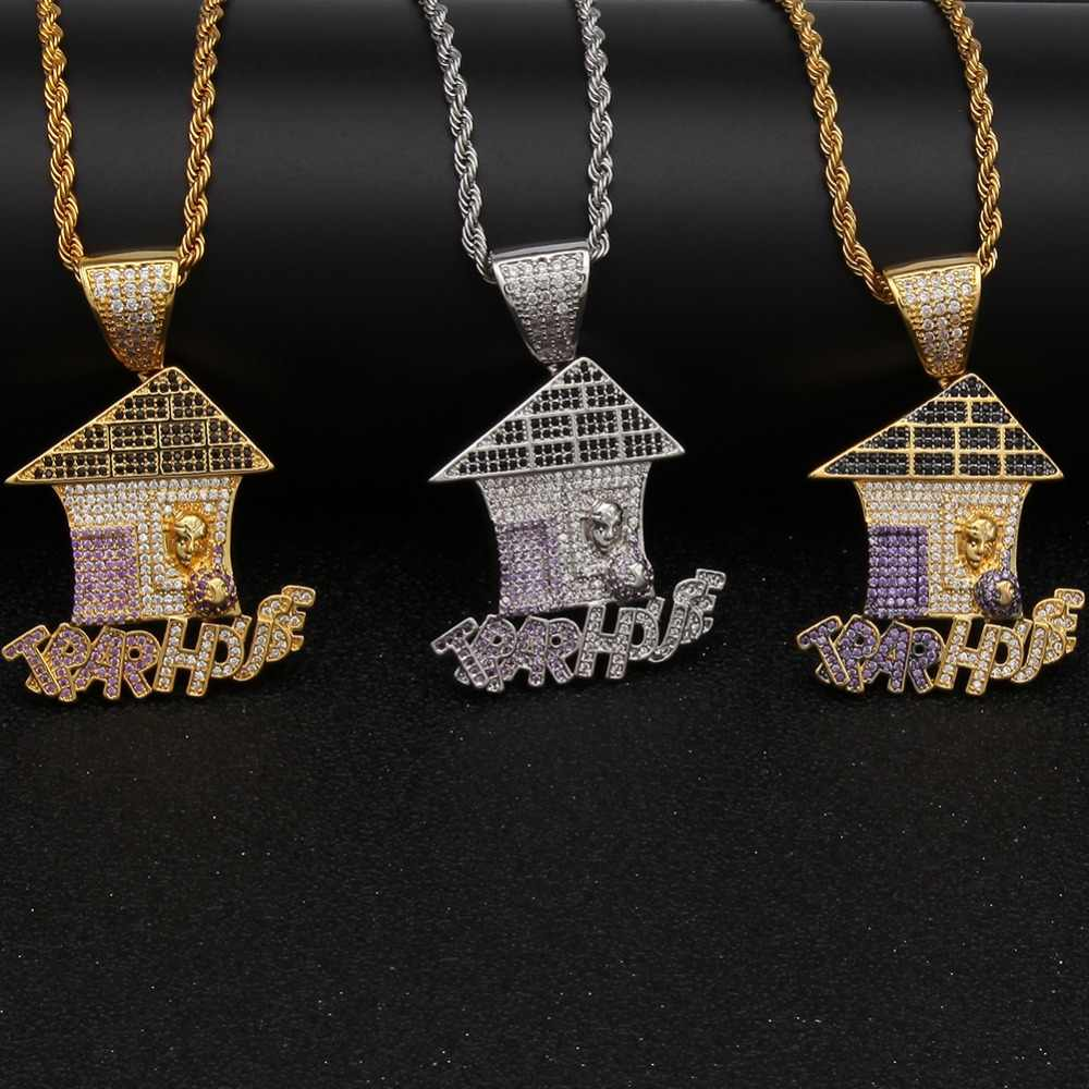 14dfb46e3e2f3a ... Colored Iced Cubic Zirconia Trap House Necklace Double Color Plating  Hiphop Gold Color Pendant Jewelry For ...