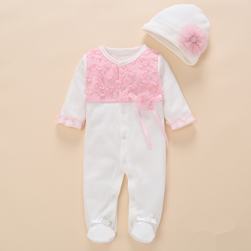 Newborn jumpsuit Baby Rompers Baby Girl Clothes Girls Lace Romper+Hat Baby Clothing Sets Coverall 100% Cotton Infant Baby Romper mother nest 3sets lot wholesale autumn toddle girl long sleeve baby clothing one piece boys baby pajamas infant clothes rompers