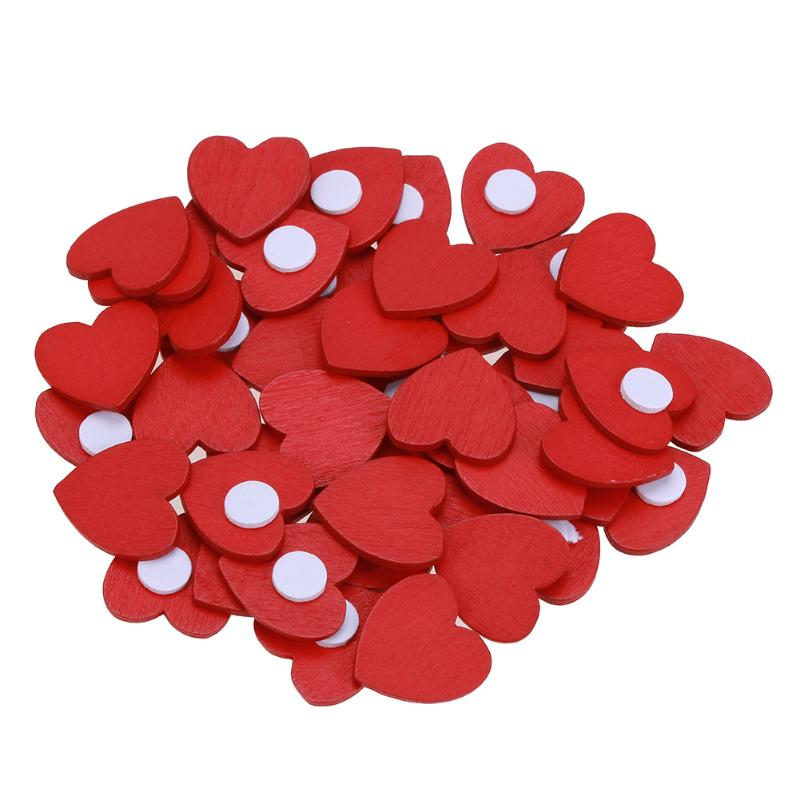 100Pcs/set Mini Wooden Red Love Heart Sponge Stickers DIY Craft Home Decor Wall Sticker School Office Stationery Supplies