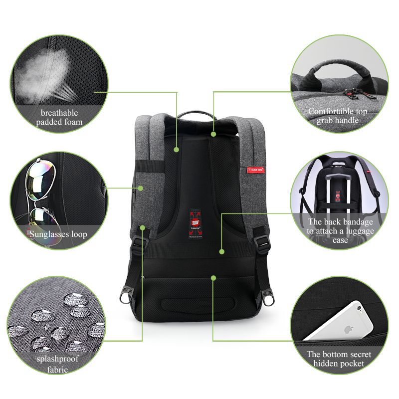 Tigernu Laptop Backpack Bag Set with USB Charging Messenger Men's Bag Splashproof Shoulder Bags 15.6 Mochila Male Travel Bags