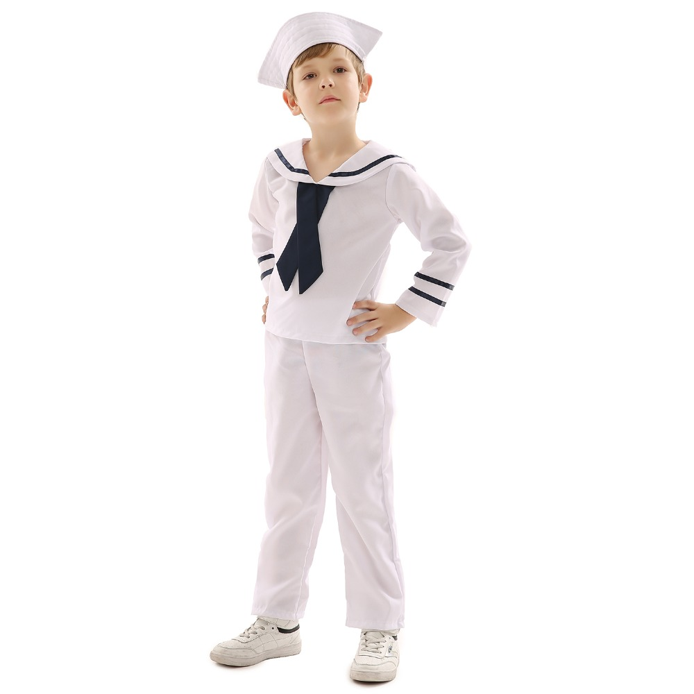 White Clothes Marine Yacht Boat Sailors Navy Captain Military Costume Kids Unisex for Stage Performance Children's Day Gift