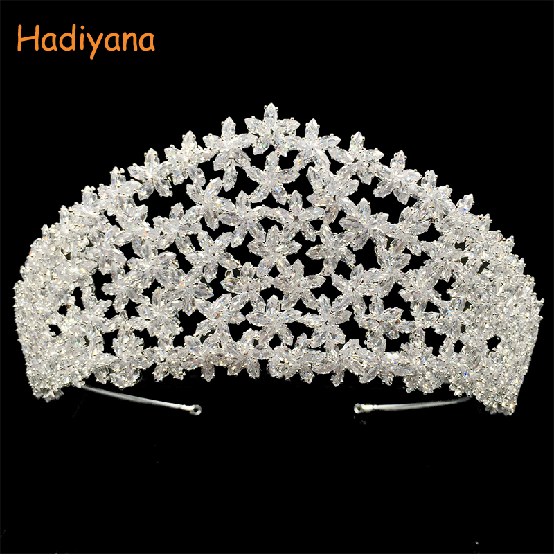 Hadiyana New Bright Zinconia Stars Crowns Ladies Copper Tiara Trendy Wedding Hair Jewelry Accessories Crown Drop Shipping BC4434 bright stars