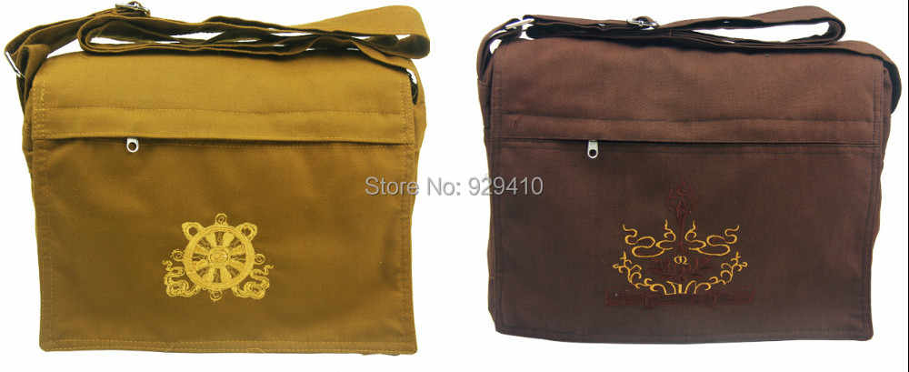 Buddhist shaolin temple Monks bags canvas lay Lohan martial arts bag package brown/coffee/yellow good quality