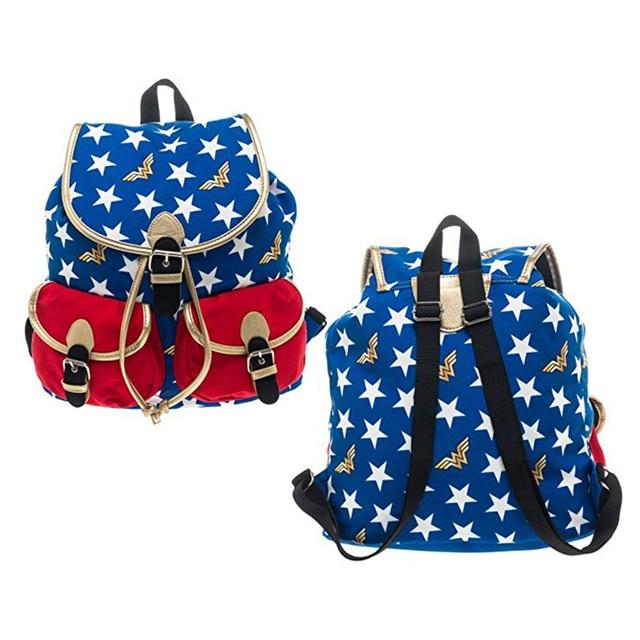 Dc Comics Wonder Woman Backpack Stars Knapsack Print Double Shoulder Bag Student Bags