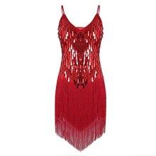 Droplets Sequins Latin Dance Dress Women Tango Ballroom Salsa Dance Dress Party Costume Dancewear Tassel Strap Dresses недорого