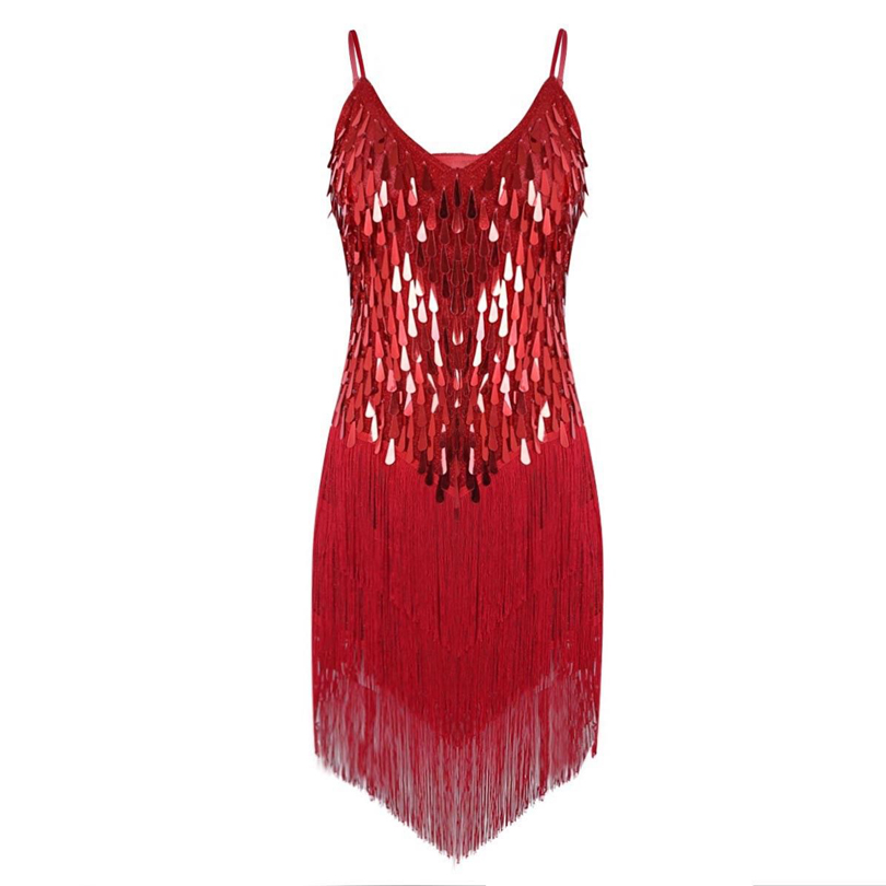 Ladies Latin Dance Costume Dress 1920s Flapper Charleston Gatsby Party Fringes Sequin DessOutfits for Dancing Performance