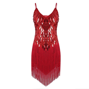 Ladies Latin Dance Dress 1920s Flapper Charleston Gatsby Party Tassel Fringes Sequin Dess for Dancing Performance Halloween