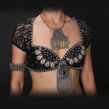 New 2016 ATS Tribal Belly Dance Bra Tops Metallic Studs Push Up BeadsBra B/C CUP Vintage Coins Top Gypsy Dance Bra Lace