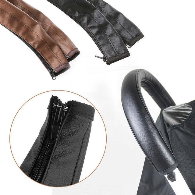 Hot! Baby Pram Pushchair Stroller Armrest Case Handle PU Leather Protective Cover Black/Brown