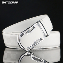 [BATOORAP]Designer Belt Men High Quality Luxury Brand Men White Belt Automatic Buckle Genuine Leather Belt letters embossed Belt