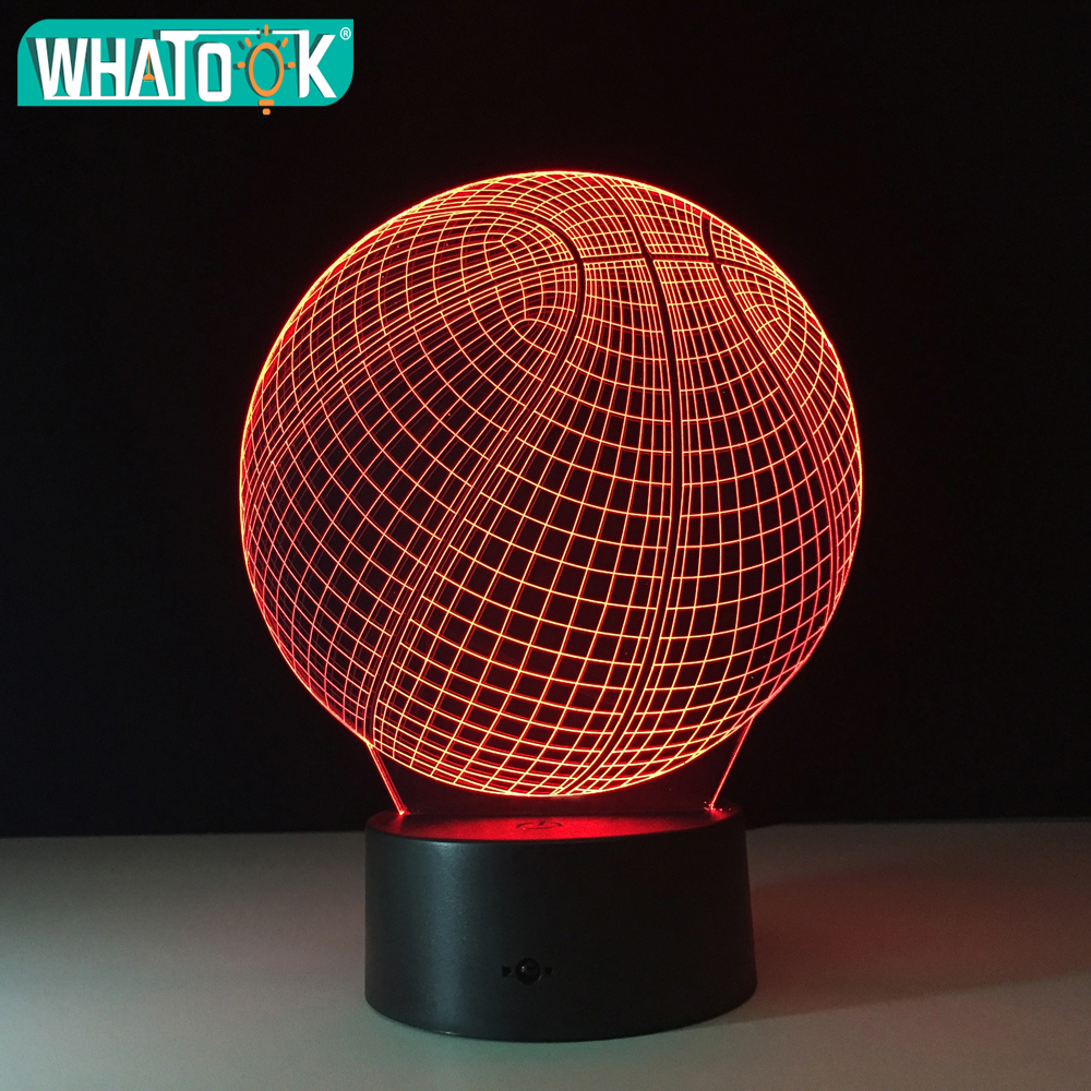 3D Night Light Sport Basketball Desk Table lamp Colorful Change USB Touch Lighting Bedroom Amazing Visualization Illusion lights