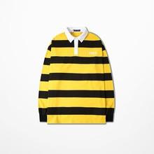 New Korean Fashion Men Striped T Shirt  Casual Wear Hip Hop Streetwear Retro Polo Shirt For Men Women Ralphmen Pol Shirt Polo