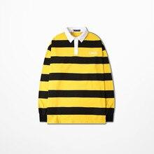 Nuovi Uomini di Modo Coreano A Righe T Shirt Casual Usura Hip Hop Streetwear Retro della Camicia di Polo Per Gli Uomini Le Donne Ralphmen Pol camicia di Polo