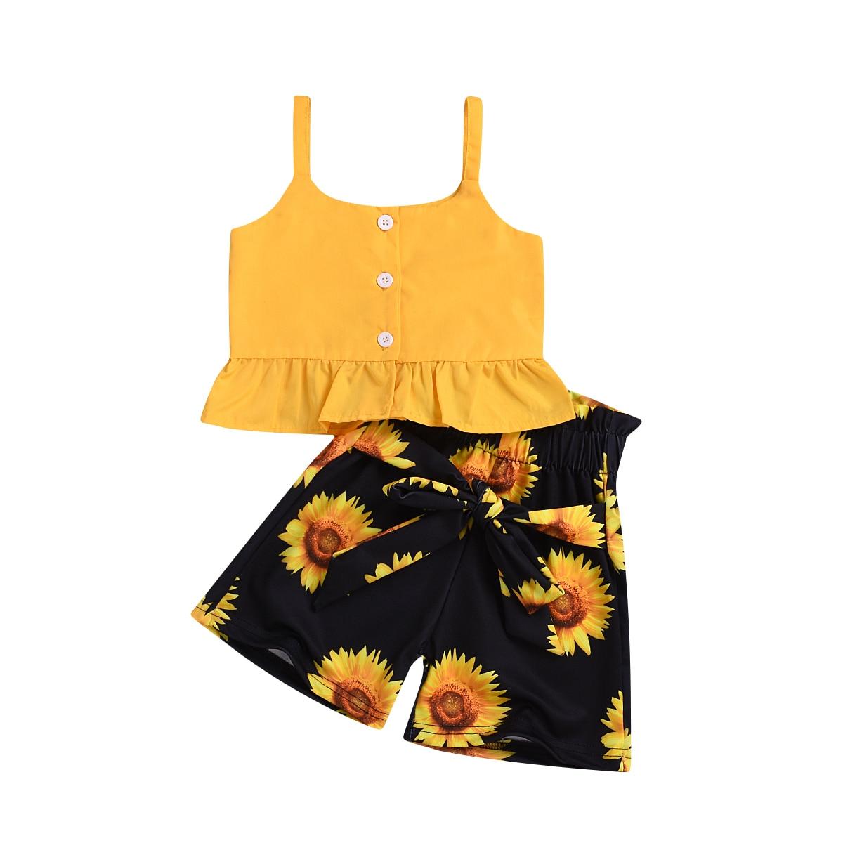 008f19d42a Toddler Baby Kid Girl Holiday Clothes Sets Yellow Sleeveless Tops T-shirt  Tank Floral Shorts