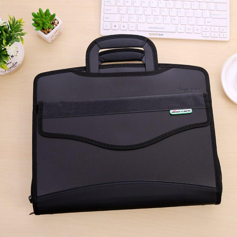 A4 Black Canvas Office Expanding File Folder Holder Organizer Handbag Storage Office Supplies