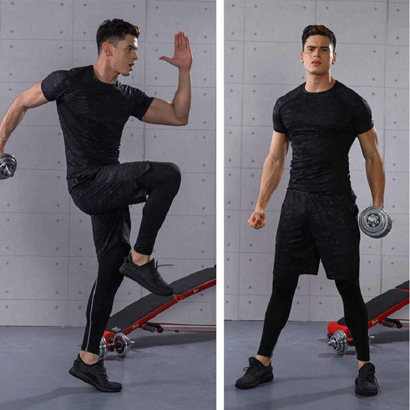 Спортивные костюмы из 3 предметов для Для Мужчин's Одежда для спортзала и бега тренировочная комплект трико Фитнес тренировки спортивных костюмов быстрые сухие спортивные костюмы