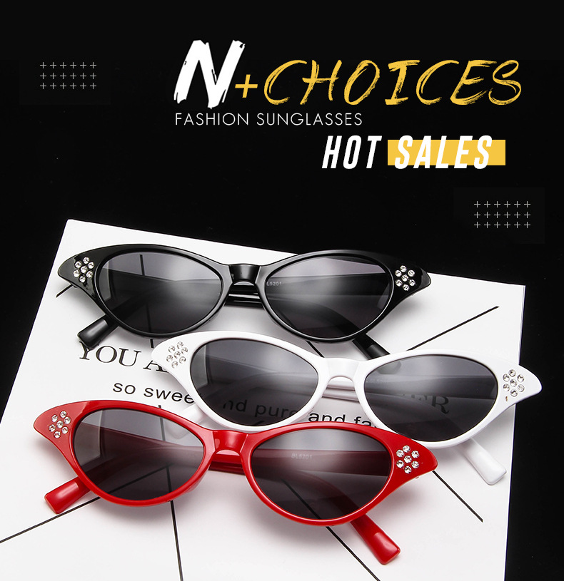 Fashion Cat Eye Sunglasses Women Brand Designer Sun Glasses For Ladies Vintage Oculos Cateye Colorful Diamond Frame Female in Women 39 s Sunglasses from Apparel Accessories