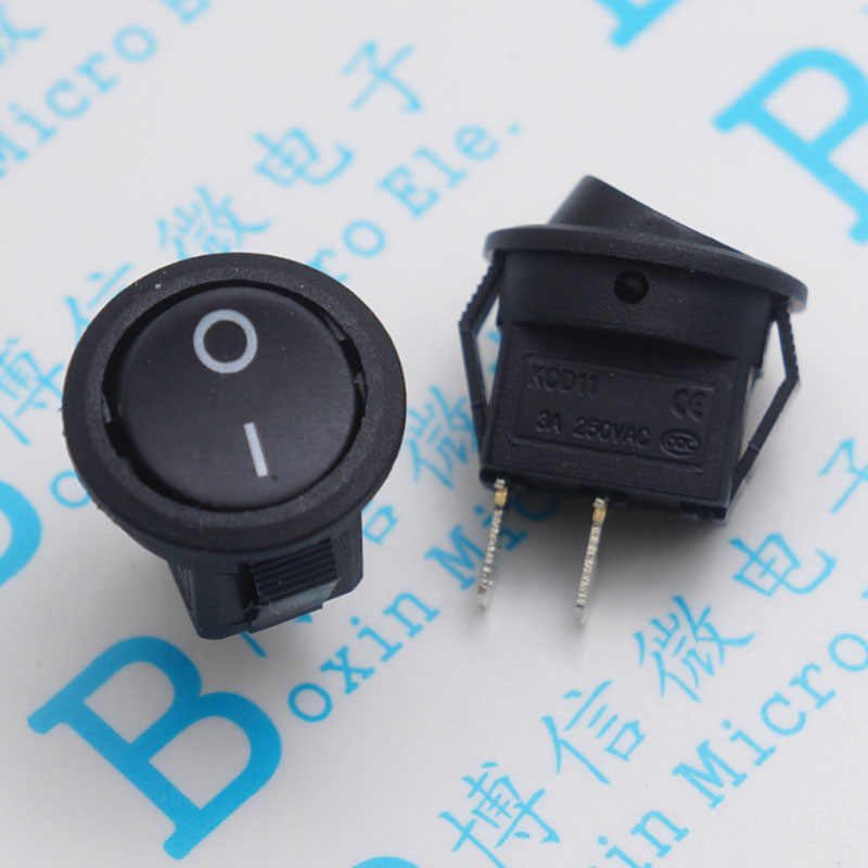 15 mm black hole Small round switch 2 foot two round KCD ship type switch power supply switch