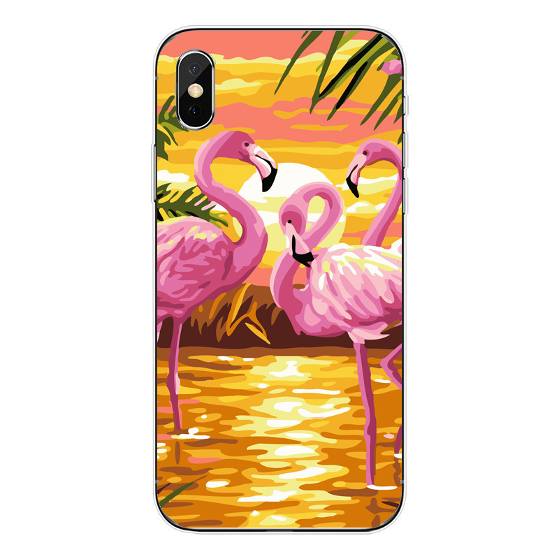 Soft silicone TPU phone cover case for iPhone MAX XR XS X10 6SPlus 7Plus 8Plus 6 6S 7 8 SE 5 5S tropical flamingo phone cover in Phone Pouches from Cellphones Telecommunications