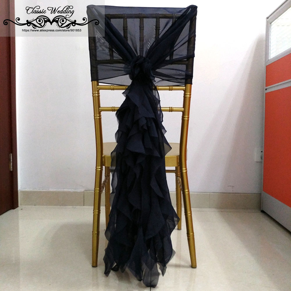 300 PCS Black Chiffon Chair Sash Willow Ruffled Chair