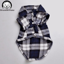 Bruce Williams Plaids Grid Shirt Lapel Costume Dog Clothes Festival T shirt Autumn Spring Clothing For