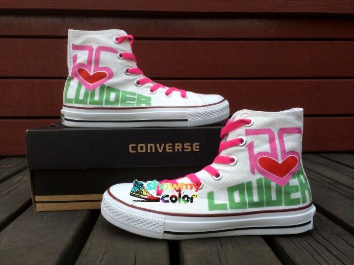 Prix pour Converse All Star Rose R5 Louder Custom Design Peint À La Main Chaussures High Top Sneakers Hommes Femmes Chaussures de Skate