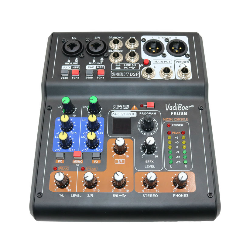 Vadiboer F6 Professional 6 Kanalen Mixer Console Met Bluetoot Effect - Draagbare audio en video - Foto 2