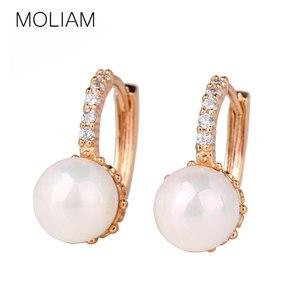 MOLIAM Crystal Hoop Earrings for Women White/Gray Simulated Pearl Delightful Wedding Design Huggie Earring MLE137/MLE146