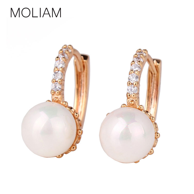 MOLIAM Crystal Hoop Earrings for Women White/Gray Simulated Pearl Delightful Wedding Design Huggie Earring MLE137/MLE146