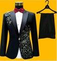 Новый стиль Настроить сделал Последние куртка брюки конструкции Groomsmen Жених Смокинги Черные Мужские Костюмы Свадьба Шафером (Куртка + брюки + Галстук)