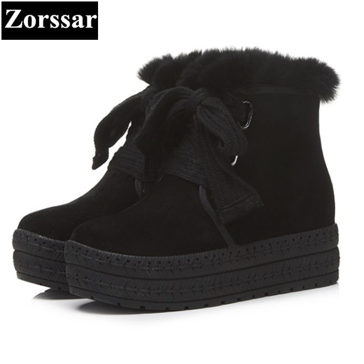 {Zorssar} 2017 Winter Women platform Boots Suede Ankle Snow Boots Female Warm Fur Plush Insole casual flats womens shoes designer women winter ankle boots female fur lace up snow boots suede plush sewing botas