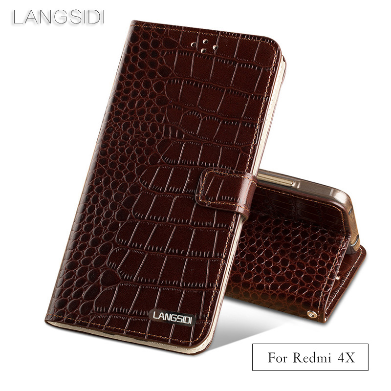 LANGSIDI Brand Phone Case Crocodile Tabby Fold Deduction Phone Case For Xiaomi Redmi 4X Cell Phone