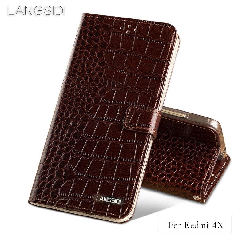 LANGSIDI Brand Phone Case Crocodile Tabby Fold Deduction Phone Case For Xiaomi Redmi 4X Cell Phone