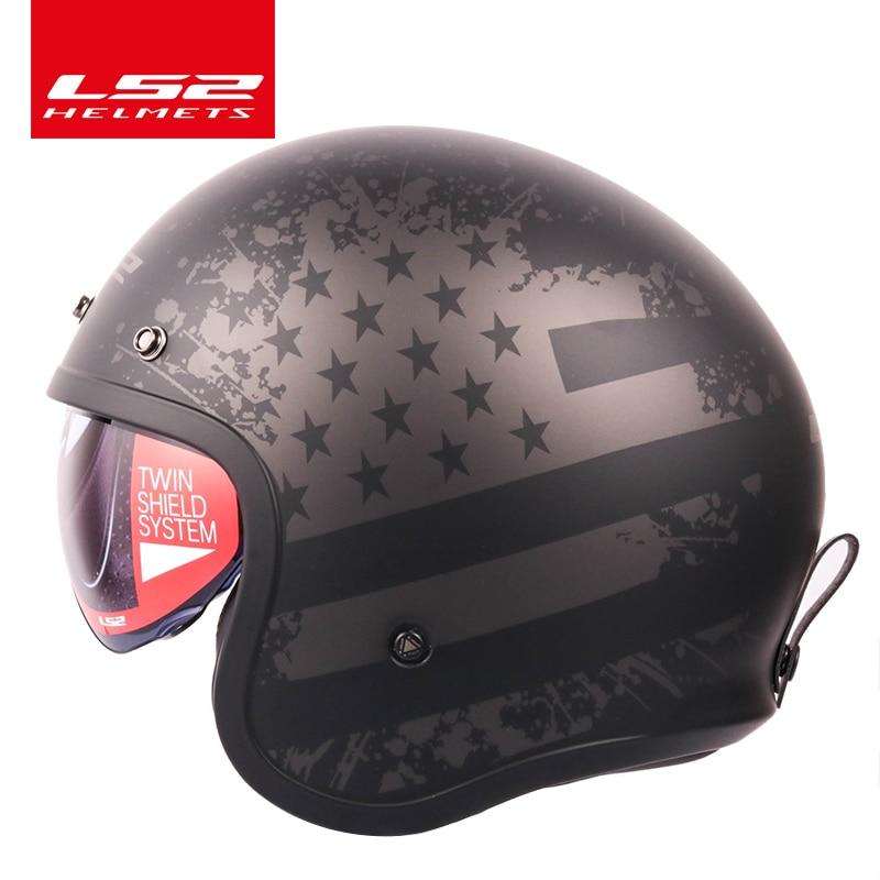 LS2 Global Store LS2 Spitfire Vintage Motorcycle helmet Fashion design retro helmets LS2 of599 casque moto with Bubble buckles Мотоциклетный шлем