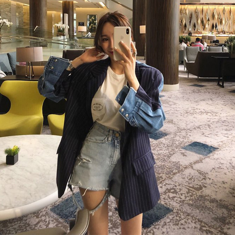 Striped Blazer Chic-Patchwork Women Outerwear Notched-Jackets Female Double-Breasted