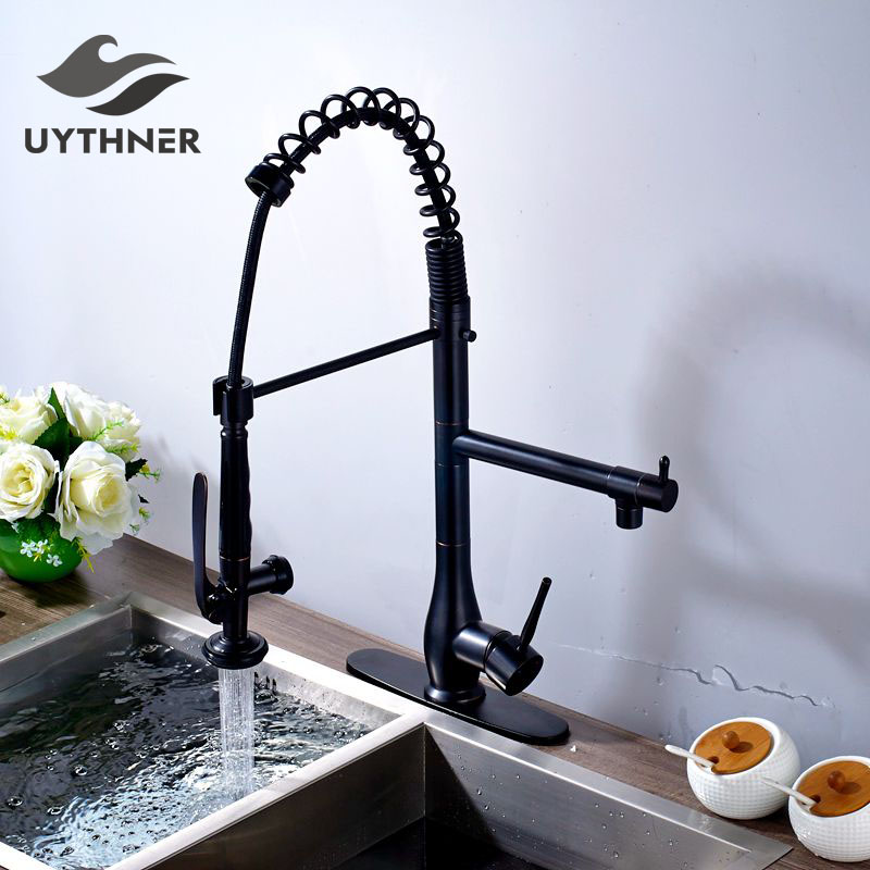 Uythner Superior Quality Heighten Solid Brass Oil Rubbed Bronze Kitchen Faucet Mixer Tap Sharp Handle Round