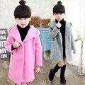 Meninas Natal Casacos Trench Coats Para Meninas Roupas de Algodão de Manga Longa Com Capuz Outerwear Outono Crianças Casaco De Lã 120-160