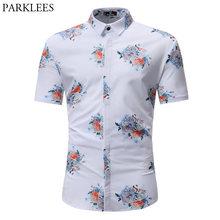 656f4f0023bc Branco Estampado de Flores Havaiano Praia Verão 2018 Camisa Dos Homens  Curta Chemise Homme manga Botão Para Baixo Camisas de Ves.