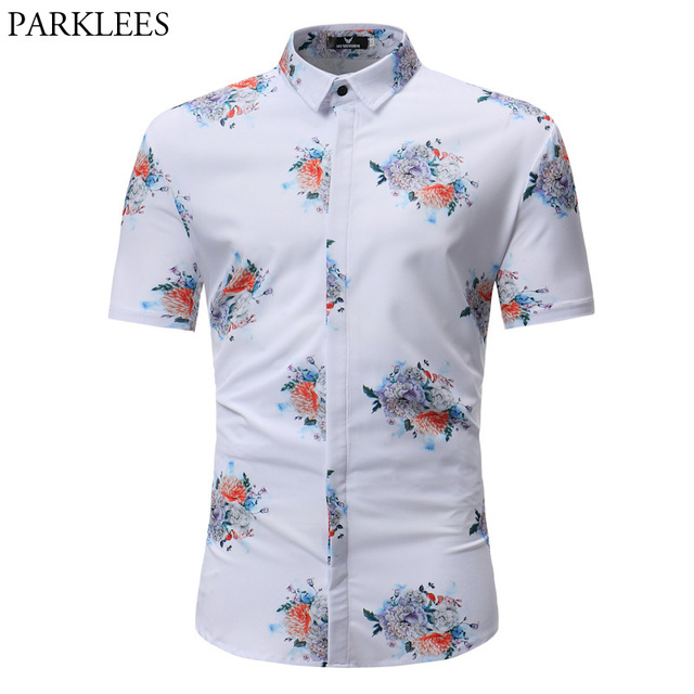 7ba603fcbf4b White Flower Print Hawaiian Beach Shirt Men 2018 Summer Short Sleeve  Chemise Homme Causal Button Down Slim Fit Dress Shirts Male