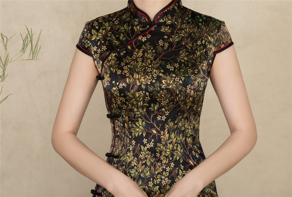Shanghai Story 2019 Top Quality Long Cheongsam Dress Short Sleeve Silk Qipao With Lining chinese dress For Woman