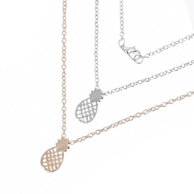 FAMSHIN Fashion Gold color Pierced Pineapple Pendant Chain Necklace Women Girls