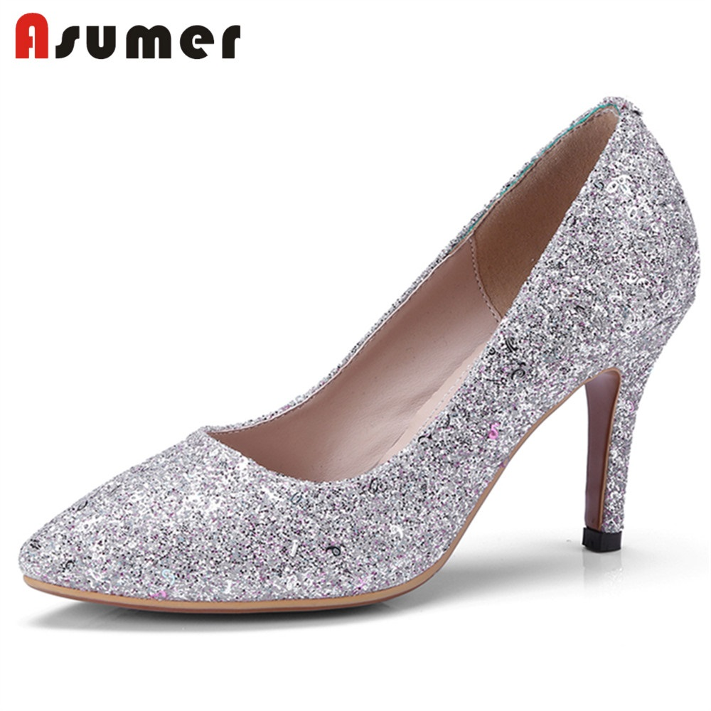 ASUMER SIZE 32-42 2018 NEW fashion sequined cloth pumps women thin high heels pointed toe shallow summer shoes wedding shoes
