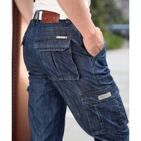 New Brand New Long Pants Men Jeans Denim Trousers Mens Fashion Pants Relaxed Straight With Many Pockets Plus Size 29 42