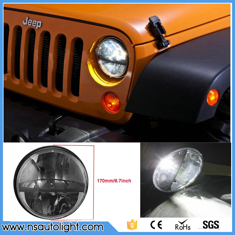 2pcs plug and play high low beam round 7inch 20w led headlight for wrangler TJ LJ JK, CJ-5, CJ-7, CJ-8 Scrambler 7inch 75w round led headlight 7500lm hi low beam head light with bulb drl for wrangler tj lj jk cj 7 cj 8 scrambler harley