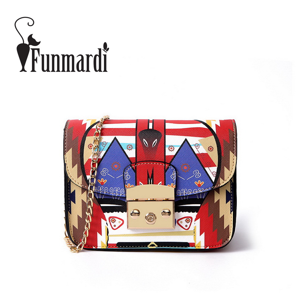 FUNMARDI Luxury Printing PU leather messenger bag mini chain Flap bags Fashion summer leather bag female shoulder bag WLHB1578