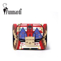 FUNMARDI Luxury Printing PU Leather Messenger Bag Mini Chain Flap Bags Fashion Summer Leather Bag Female
