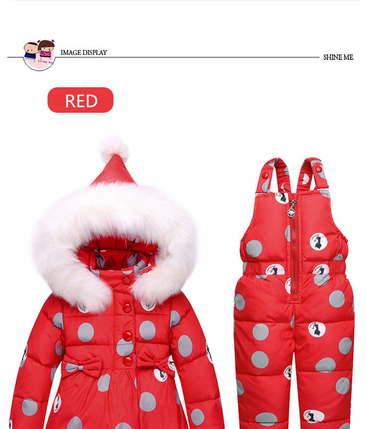 af0d7ad75bbc Baby Girl Winter Clothes Sets Children Hooded Warm Down Jacket ...