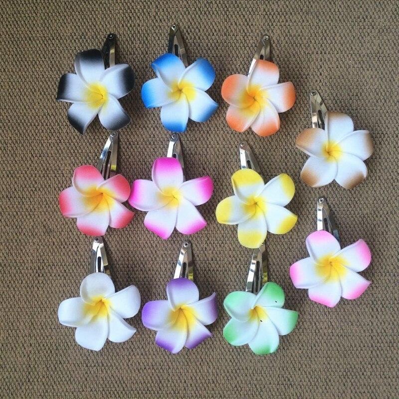 HappyKiss 12pcs Hawaiian  Flower Jewelry Frangipani Polymer Hair Pin Frangipani Artificial Flower Girls Wedding Bride BB CLIP