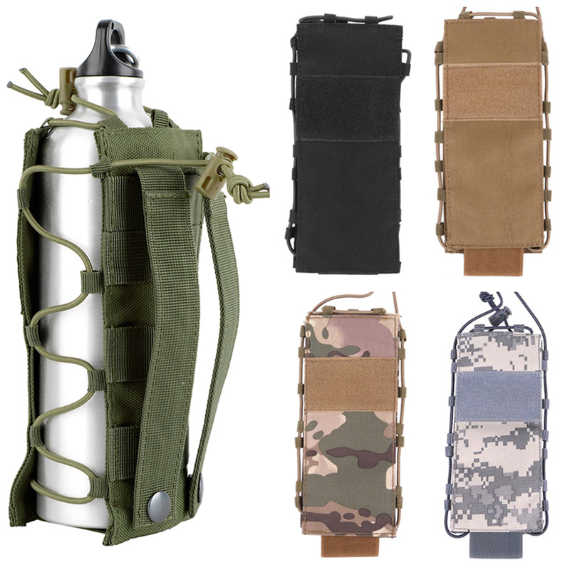 CQC Outdoors Camping Hiking Military Tactical Water Bottle Pouch Molle Belt Camo Hunting Bag Travel Canteen Kettle Holder