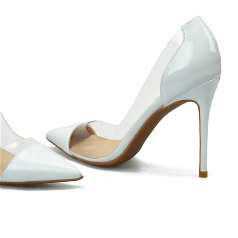 bbbb5631e1da 2018 Women Wedding Scarpin Fetish 8cm Transparent High Heels Female Nude  Heels Sexy Shoes Lady Valentine Plus Size 45 46 Pumps